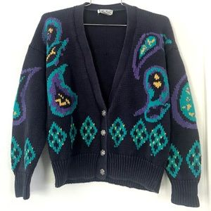 Vintage 1980's cardigan sweater blue paisley knit